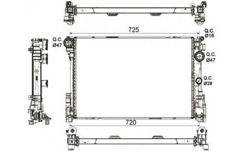 Радиатор СОД Mercedes W204 11-/W212 09-