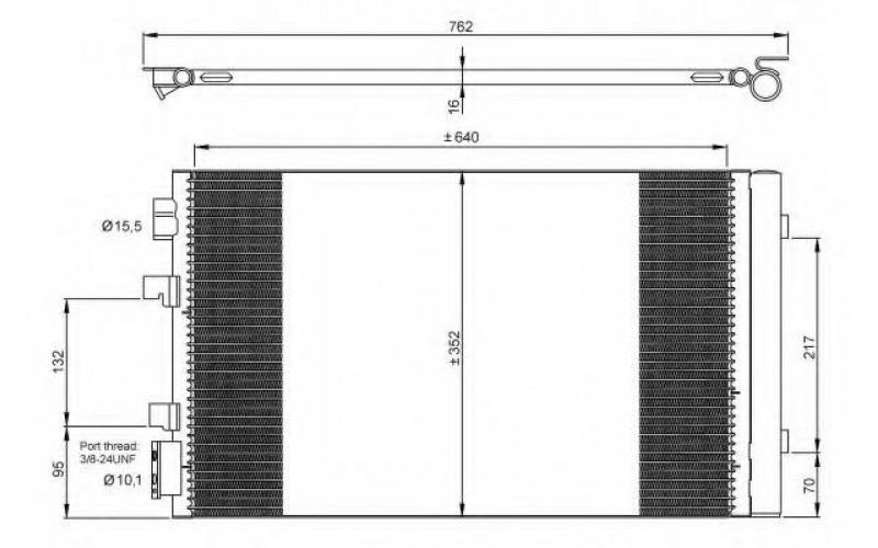 Радиатор СКВ Renault Fluence 10-/Megane III 08- (датчик в бок)