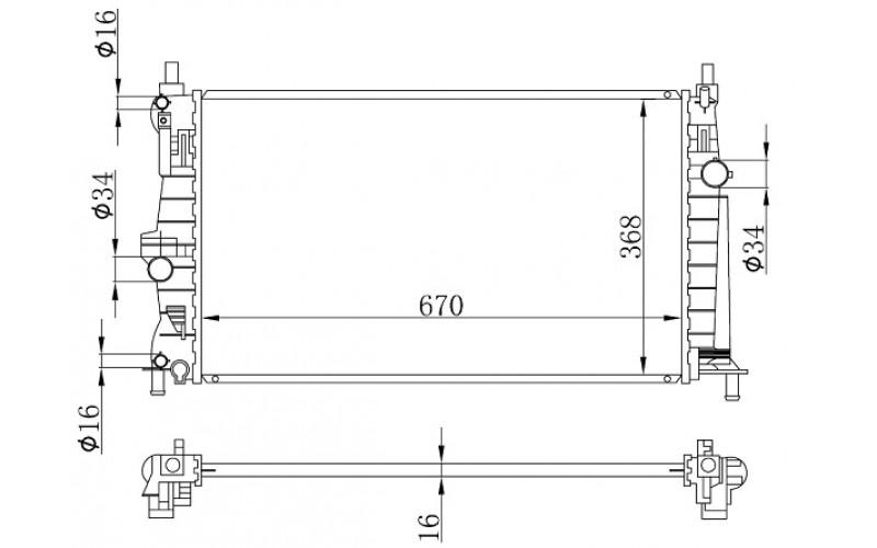 Радиатор СОД Mazda 3 09-13 1.6 AT