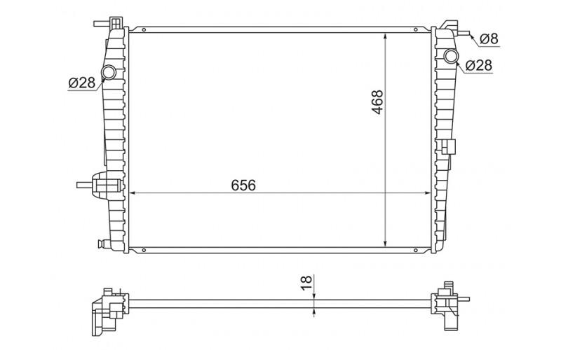 Радиатор СОД Renault Fluence 10-/Megane III 08-